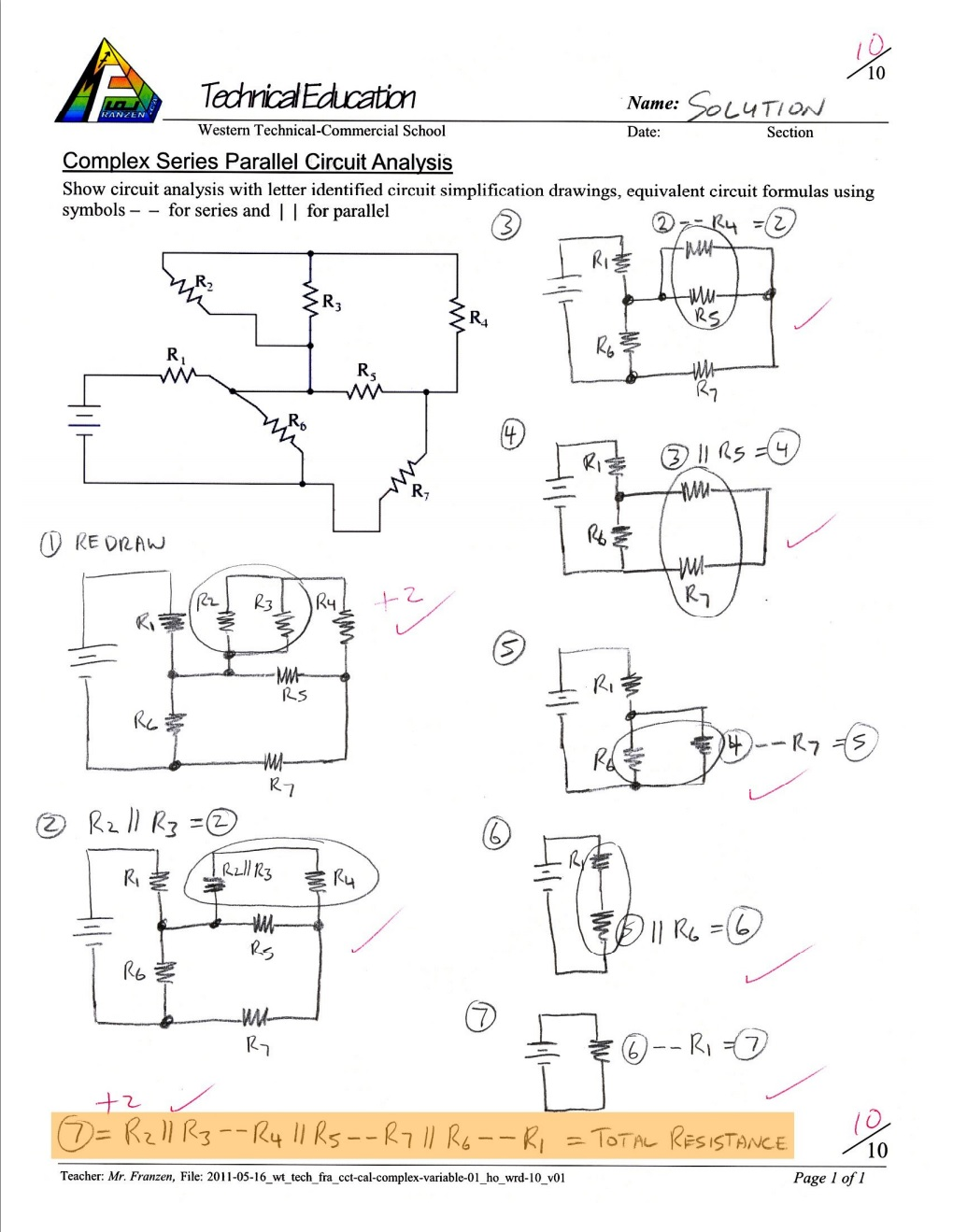Unit 1 Computer Engineering Technology Robotics and Control Systems – Series Parallel Circuit Worksheet
