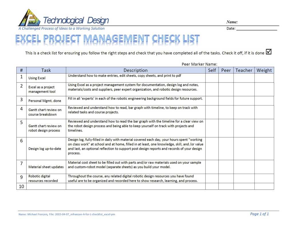 Michael franzen web portfolio projects a check list assessment sheet nvjuhfo Choice Image